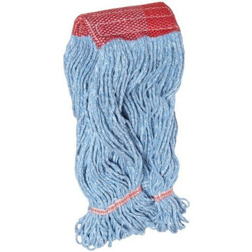 Impact L270LG Cotton/Synthetic Blend Saddle-Type Looped-End Wet Mop with Tailband, Large, Blue/Red Tailband (Case of 12)