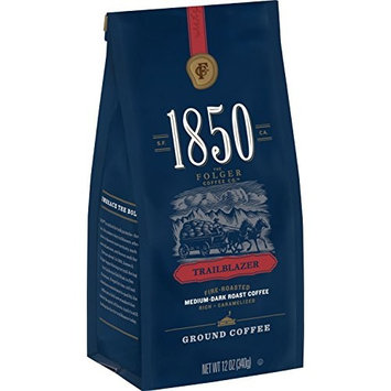 1850 Trailblazer, Medium-Dark Roast Ground Coffee, 12 Ounces [No Sugar or Stevia]