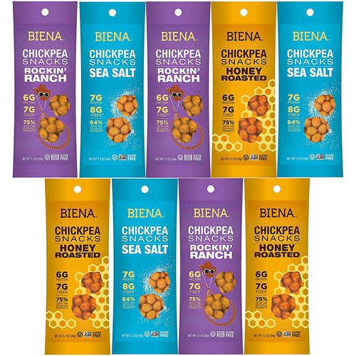 Biena Chickpea Snacks, NON GMO, Gluten Free, Excellent Source of Fiber, Healthy Treats For Everyday, Variety Pack Sampler By Variety Fun