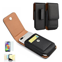 For Iphone 6,6s Premium Black Vertical PU Leather Pouch Protective Phone Carrying Case Card Holder Belt Clip Belt Loops Holster And Magnetic Closure Momiji [Screen Guard] Protector, Cleaning Cloth