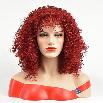 QianBaiHui Wine Red Curly Synthetic Wigs With Bangs Heat Resistant Medium Burgundy Afro Wig For Black Women Full Natural Hair