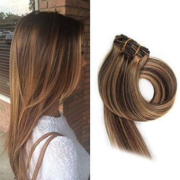 BETTY Clip In Human Hair Extensions 15 18 20 22 Inch 7pcs 70g Set Silky Straight Human Remy Hair Omber Color (18inch, #1/613)