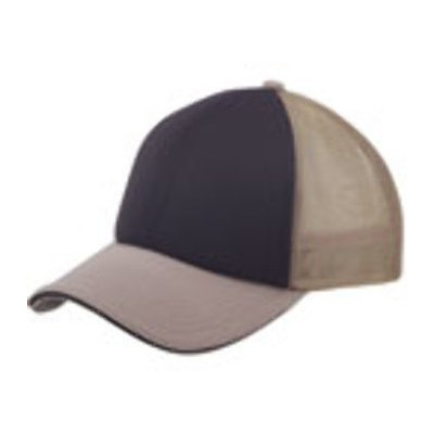 Ddi 6 Panel Mesh W/ Sandwich Bill Cap - Khaki/Black (Pack Of 144)