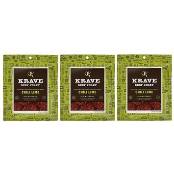 All Natural Beef Jerky - Chili Lime - 2.7 Ounces Each (Pack of 3)