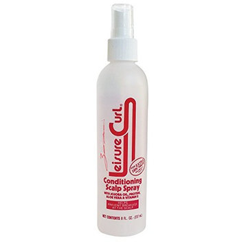 Leisure Curl Conditioning Scalp Spray Pure Aloe Vera, Vitamin E, Jojoba oil and Protein Enriched Dry Hair Treatment Regular 8 oz - for Color Treated Hair Male and Female -Prevent breakage at the Scalp