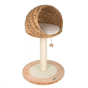 Elegant Round Woven Cat Tree Made From Hand-woven Banana Leaf - Very Sturdy Activity Tree With Extremely Durable Scratching Post and Cosy Sleeping Bed