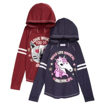Big Girls Unicorn & Cat Reversible Sequins Hooded Top