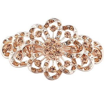 Lux Accessories Rose Goldtone Rhinestone Special French Barette Hair Clip