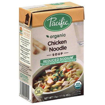 Pacific Foods Pacific Organic Reduced Sodium Chicken Noodle Soup, 17 oz, (Pack of 12)