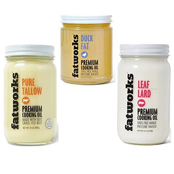 ULTIMATE FAT MULTI-PACK: Fatworks Pure Tallow - 14 oz, Fatworks Duck Fat - 8 oz, and Fatworks Premium Leaf Lard - 14 oz