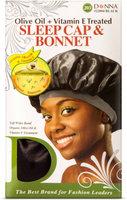 Donna Collection Olive Oil & Vitamin E Treated Sleep Cap & Bonnet, Black 1 ea