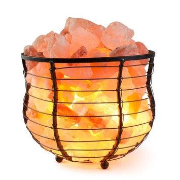 Hemingweigh Himalion Natural Air Purifying Himalayan Salt Metal Basket Bowl Lamp 8x7.15 with Salt Chips, Elec