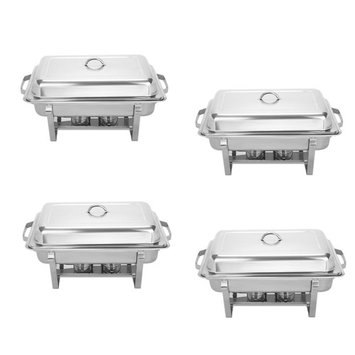 VEVOR Chafing Dish Set of 4 Stainless Steel Chafer Full Size 8 Quart Chafing Dishes for Catering Buffet Warmer Tray Kitchen Party Dining