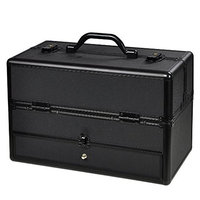 Professional Aluminum ABS Hair Stylist Barber Cosmetic Makeup Drawer Train Case With Key Lock Black