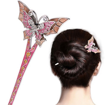 LiveZone Fashion Hair Decor Chinese Traditional Style Women Girls Hair Stick Hairpin Hair Making Accessory with Butterfly,Pink