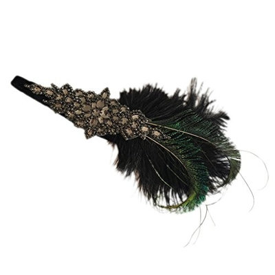 Prettyia 1 Piece 20s Headband Peacock Feather with Black Vintage For Bridesmaid Party Headband