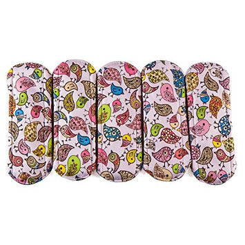 Wegreeco Bamboo Reusable Sanitary Pads - Cloth Sanitary Pads | Bladder Support & Incontinence Pads | Reusable Menstrual Pads - Pack of 5 (Small,Flower)