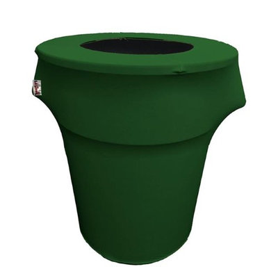 LA Linen SpandexCover44G-GreenEmX32 Stretch Spandex Trash Can Cover 44 gal Round Emerald Green