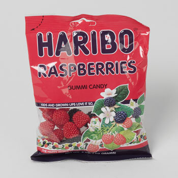 Dollaritemdirect GUMMY CANDY HARIBO RASPBERRIES 4 OZ PEG BAG, Case Pack of 12