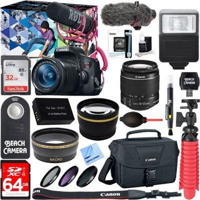 Canon EOS Rebel T6i Video Creator w/ 18-55mm Lens, Rode VideoMic, 64GB Memory Bundle
