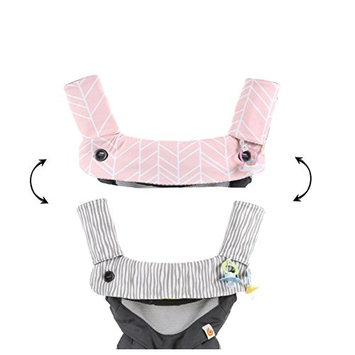 Premium Drool and Teething Reversible Cotton Pad | Fits Ergobaby Four Position 360 + Most Baby Carrier | Pink Herringbone Design | Hypoallergenic | Great Baby Girl Shower Gift by Mila Millie