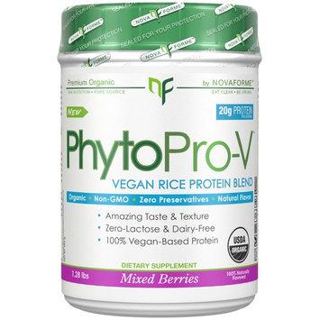 NovaForme, PhytoPro-V, Certified USDA Raw Organic Premium Vegan Rice Protein, Mixed Berries, 1.28 lbs (580 g) [Flavor : Mixed Berries]