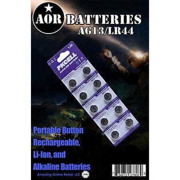 AOR Power® 1.5 Volt Alkaline AG13/LR44 Button Battery, 10 Pack