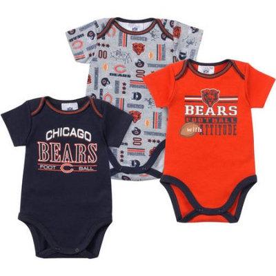 NFL Chicago Bears Baby 3-Pack Short Sleeve Bodysuit Set