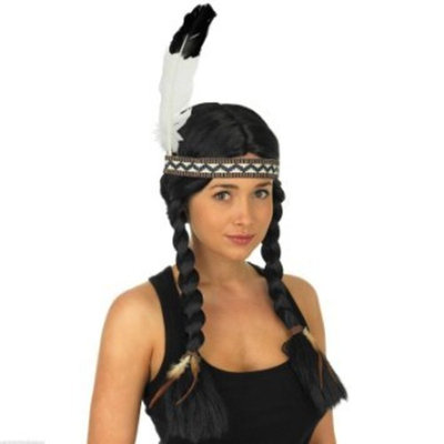 Ladies Black Indian Squaw Wig With Feather