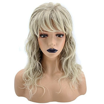 Anogol Hair Cap+ Ombre Blonde Synthetic Wig With Bangs Medium Wavy Hair Fluffy Puffy Full Body Wave Wigs