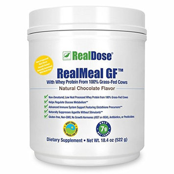 RealDose Nutrition RealMeal Grass Fed Whey Protein Powder - Premium Paleo Protein Powder & Meal Supplement - Includes Prebiotic Fiber, Enzyme Blend & Creatine – Chocolate