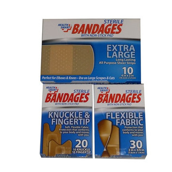Sterile Bandages with Non-stick Pad in Extra Large, Flexible Fabric, Knuckle & Fingertip