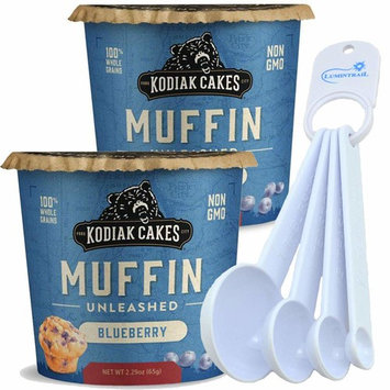 Kodiak Cakes Muffin Instant Cup Whole Grain Blueberry - 2 Pack - Bundle with a Lumintrail Measuring Spoon Set