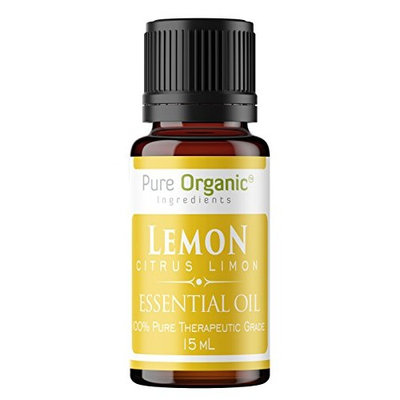 Lemon Pure Essential Oil 15 ml by Pure Organic Ingredients, Uplifting & Energizing Citrus Aroma, Powerful Cleansing Agent, Natural Detox, Convenient Dropper Cap Bottle (15 ml (2.5 oz))