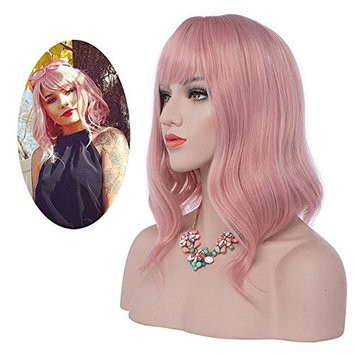eNilecor Pink Wig, Short Colorful Synthetic Curly Pastel Wigs with Air Bangs for Women(14
