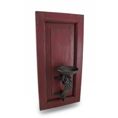 Zeckos Distressed Finish Wood and Metal Wall Sconce Candle Holder