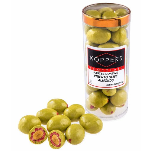 Koppers Pimento Olive Chocolate Almond, 6oz Package, with Melt Protection