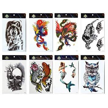 GGSELL GGSELL tattoo 8pcs mixes temporary tattoos in one packages,including wolf,colorful phoenixes,tiger,skull,fishes,owl,Mermaid tattoos