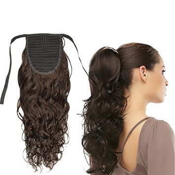 Dingli Hair 100% Virgin Human Hair Curly Wave Clip in Wrap Around Ponytail Extension for Women Natural Color
