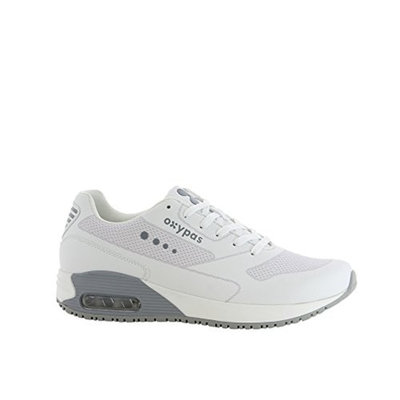 Oxypas Oxysport 'Justin' Comfortable Leather Professional Trainer Style Shoe With Anti-Slip and Anti-Static [White with Grey Trim, 45 EU]