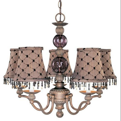 Caprice 5-Light Chandelier w Brown Shade