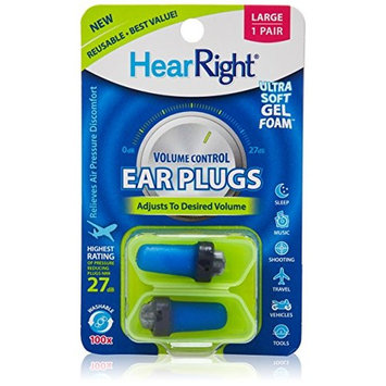 HearRight Volume Control Ear Plugs – Adjustable Ear Plugs – Soft Foam Ear Plugs for Hearing Protection – (2-Pack) – Large