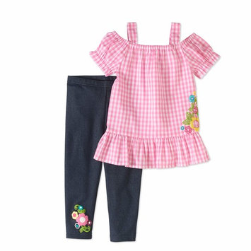 Toddler Girls' Cold Shoulder Woven Tunic and Leggings 2-Piece Outfit Set