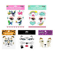 Spestyle waterproof and non toxic tattoo 6pcs mixes kids animal face fake temp tattoo stickers in a packages,including butterflies,flowers,rainbow,clould,tiger...