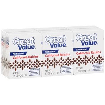Great Value: Raisins 100% Natural Snack, 1.5 oz