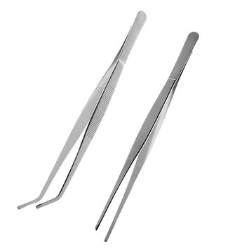 ROSENICE 2pcs Stainless Steel Tweezers Straight and Curved Tip (Silver)