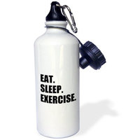 3dRose Eat Sleep Exercise. Gifts for gym bunny or keep fit fitness enthusiast, Sports Water Bottle, 21oz