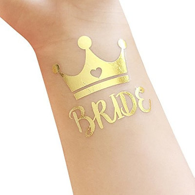 Bachelorette and Bride Tribe Temporary Tattoos, 12-Pack Bride & Team Bride, Bachelorette Party Supplies and Accessories Favours, Metallic Shiny Gold Tattoos (T12,T13)