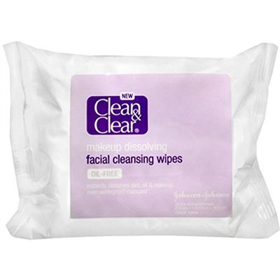 CLEAN & CLEAR Makeup Dissolving Facial Cleansing Wipes 25 Each (Pack of 5)