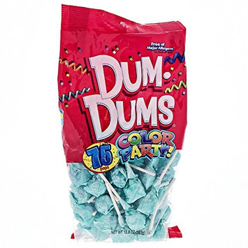 Light Blue Dum Dums Color Party - Blue Raspberry Flavored - 4 Bags - 75 Count Per Bag - 300 Total Lollipops [Light Blue - Blue Raspberry]
